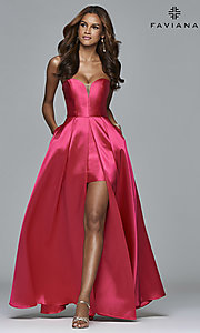 Strapless High Low Prom Dress by Faviana