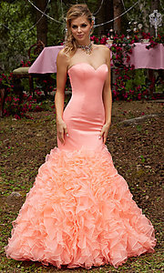 Mermaid Style Prom Dress with a Ruffled Skirt
