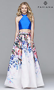 Two-Piece Floral Print Prom Dress