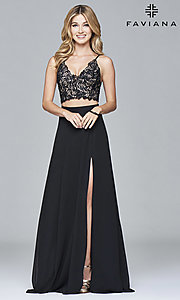 Two-Piece Faviana Prom Dress with Lace Top