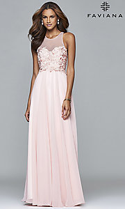 Faviana Long Prom Dress with Illusion Neckline