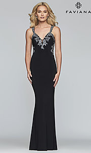 Image of v-neck floor-length formal prom dress by Faviana. Style: FA-S7999 Detail Image 6