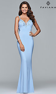 Image of v-neck floor-length formal prom dress by Faviana. Style: FA-S7999 Detail Image 5
