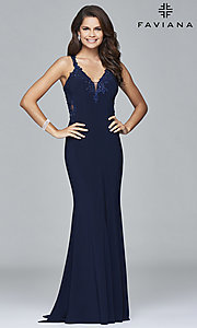 Image of v-neck floor-length formal prom dress by Faviana. Style: FA-S7999 Detail Image 2