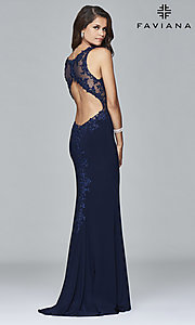Image of v-neck floor-length formal prom dress by Faviana. Style: FA-S7999 Back Image