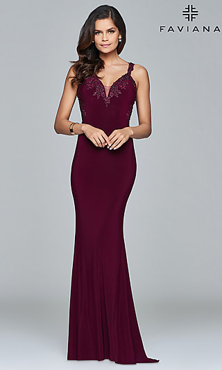 V-Neck Floor-Length Formal Prom Dress by Faviana