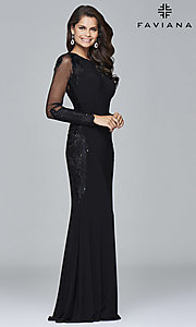 Black Long Sleeve Prom Dress by Faviana