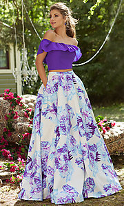 Two Piece Off the Shoulder Print Prom Dress