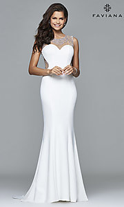Long Beaded-Illusion Ivory Prom Dress