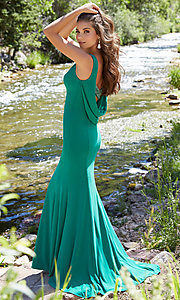 Long Jersey Open Cowl Back Prom Dress