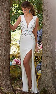 Beaded Jersey V-Neck Open Back Prom Dress