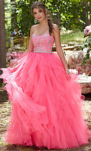 Tulle Sleeveless Strapless A-Line Prom Dress