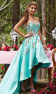 Embroidered High Low Strapless Prom Dress