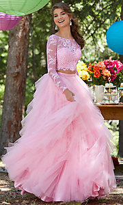 Illusion Two Piece Long Sleeve Prom Dress