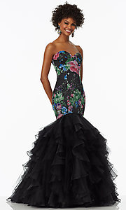 Print Mermaid Style Strapless Prom Dress