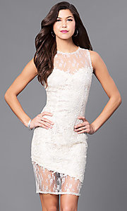 Image of illusion sweetheart short lace party dress. Style: LP-24103 Front Image