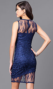 Image of illusion sweetheart short lace party dress. Style: LP-24103 Back Image