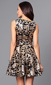 Image of v-neck short a-line holiday party dress with sequins. Style: AC-DE22662R Back Image