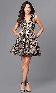 Image of v-neck short a-line holiday party dress with sequins. Style: AC-DE22662R Detail Image 1