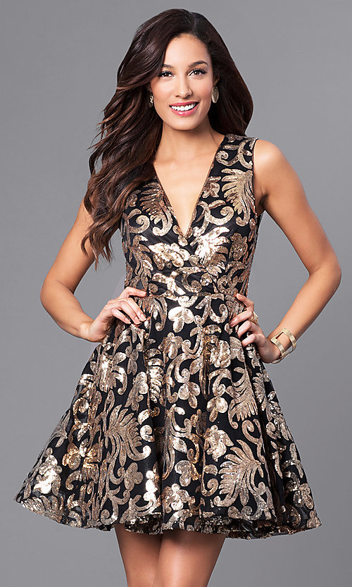 Image of v-neck short a-line holiday party dress with sequins. Style: AC-DE22662R Front Image