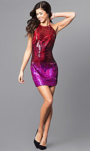 Image of open-back short red and purple sequin party dress Style: AC-DE22732B Detail Image 1