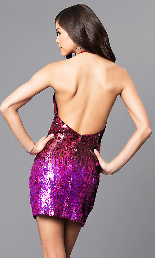 Image of open-back short red and purple sequin party dress Style: AC-DE22732B Back Image