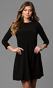 Short 3/4 Sleeve Little Black Shift Party Dress