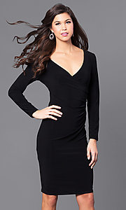 Long Sleeve Knee Length V-Neck Party Dress