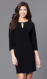 Short 3/4 Sleeve Shift Party Dress