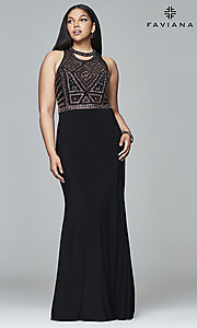 Plus-Size Prom Dress with Beaded Bodice