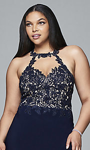 Image of Faviana plus-size embroidered-bodice prom dress. Style: FA-9394 Detail Image 1