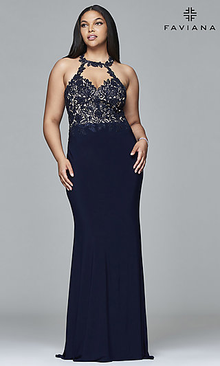 Faviana Plus-Size Embroidered-Bodice Prom Dress