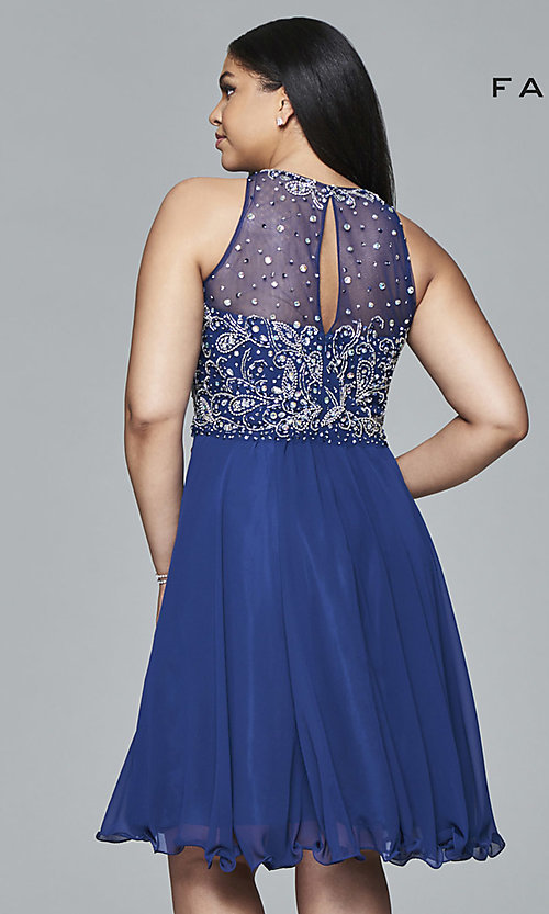 91a549a9e1a426 Short Plus-Size Prom Dress with Beaded Top