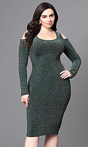 Plus Cold Shoulder Long Sleeve Knee Length Party Dress