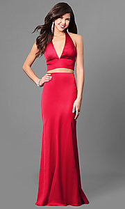 Image of two-piece halter prom dress with v-neck.  Style: SH-51250 Front Image
