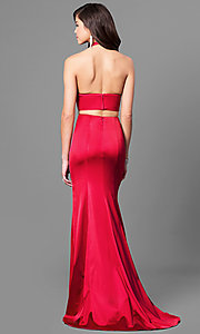 Image of two-piece halter prom dress with v-neck.  Style: SH-51250 Back Image