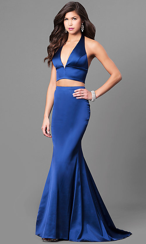 Image of two-piece halter prom dress with v-neck.  Style: SH-51250 Detail Image 2