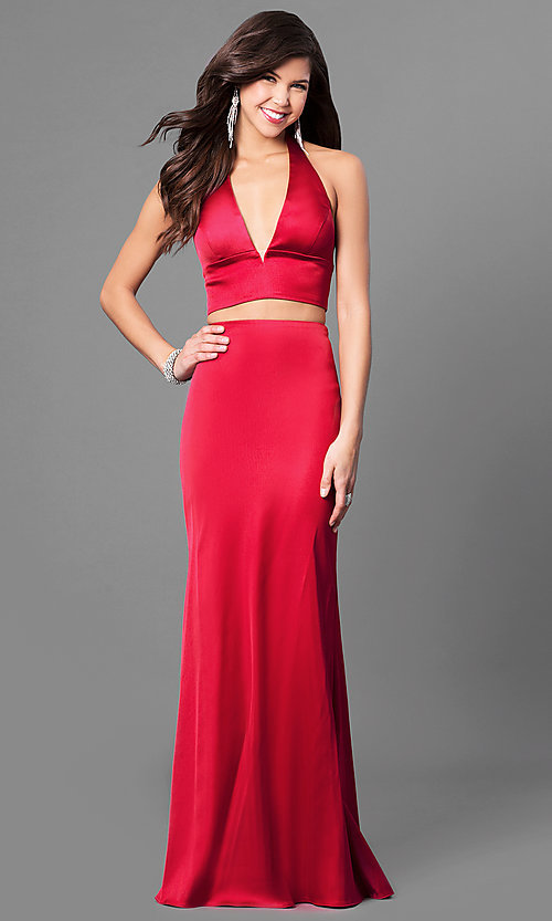 Mermaid V-Neck Two-Piece Prom Dress - PromGirl