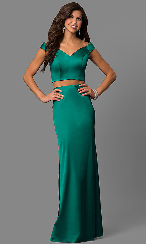 Image of long two-piece satin prom dress by Sherri Hill. Style: SH-51251 Detail Image 2