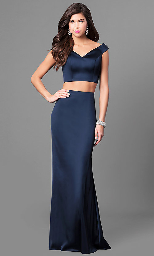 Image of long two-piece satin prom dress by Sherri Hill. Style: SH-51251 Front Image