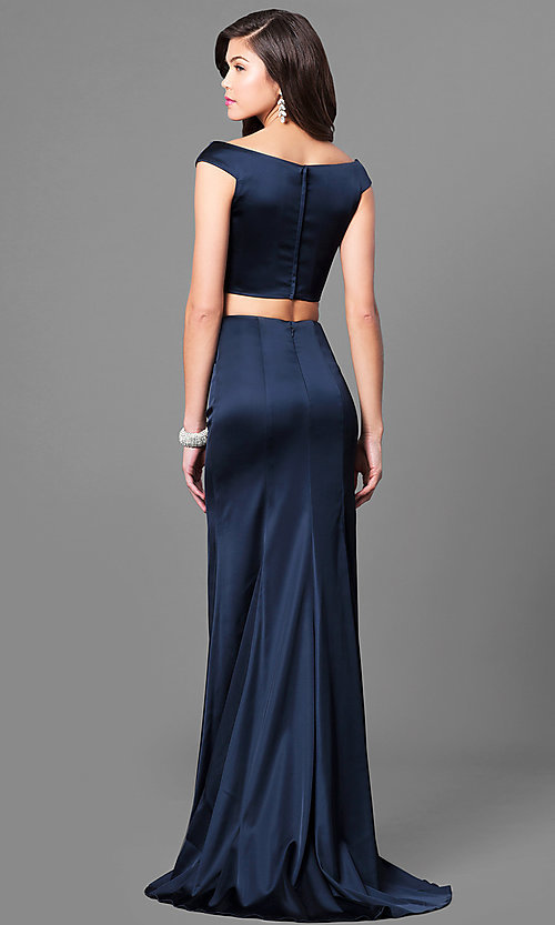 Image of long two-piece satin prom dress by Sherri Hill. Style: SH-51251 Back Image