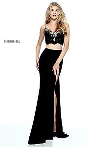 Two Piece Black Long Sherri Hill Prom Dress