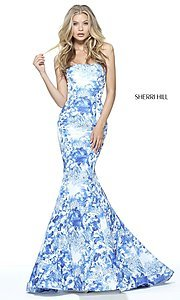 Ivory & Blue Floral Print Sherri Hill Mermaid Dress