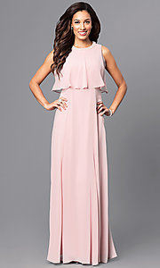 Long Popover Top Prom Dress with Beaded Collar