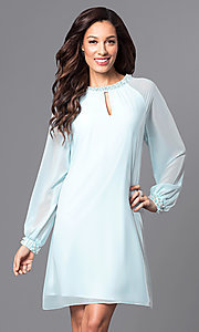 Short Party Dress with Long Cuffed Sleeve