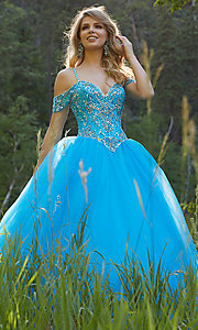 A-Line Long Off the Shoulder Prom Dress