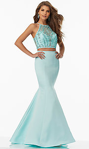 Sheer Back High Neck Mermaid Style Prom Dress