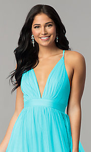 Image of long sexy prom dress with deep v-neckline. Style: LUX-LD3449 Detail Image 2