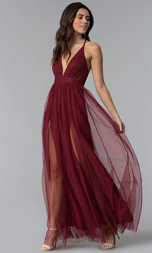 Image of long sexy prom dress with deep v-neckline. Style  LUX- 60bd25561