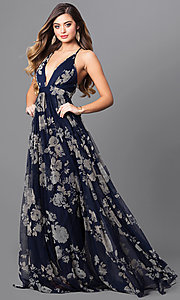 Image of floral-print v-neck long prom dress with empire waist. Style: LUX-LD3450 Detail Image 1